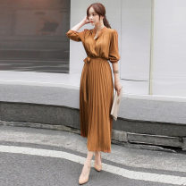Dress Autumn 2020 S,M,L,XL,2XL longuette singleton  Long sleeves commute stand collar High waist Solid color Socket Pleated skirt other Others 25-29 years old Korean version Fold, lace up 51% (inclusive) - 70% (inclusive) Chiffon