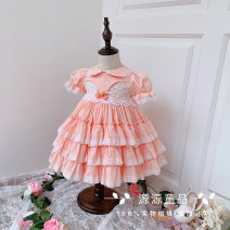 Dress female Other / other 80cm,90cm,100cm,110cm,120cm Cotton 100% summer princess Short sleeve Solid color cotton Cake skirt 12 months, 18 months, 2 years old, 3 years old, 4 years old, 5 years old, 6 years old