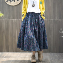 skirt Autumn of 2018 Average size Mid length dress commute Natural waist A-line skirt Broken flowers Type A 25-29 years old More than 95% cotton Pocket, print literature