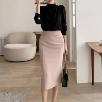 skirt Spring 2021 S,M,L,XL Black, apricot Mid length dress commute High waist skirt Solid color Type H 25-29 years old 71% (inclusive) - 80% (inclusive) brocade nylon Fold, asymmetry, zipper, stitching Korean version 141g / m ^ 2 (including) - 160g / m ^ 2 (including)
