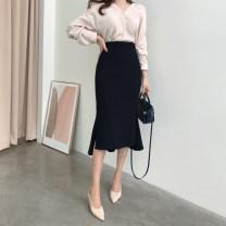 skirt Spring 2021 S,M,L,XL Black, grey, dark grey red, dark blue grey Mid length dress commute High waist skirt Solid color Type X 25-29 years old 81% (inclusive) - 90% (inclusive) brocade nylon Ruffle, asymmetric, zipper, stitching Korean version 101g / m ^ 2 (including) - 120g / m ^ 2 (including)