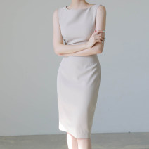 Dress Spring 2021 Apricot , wathet , Pink S,M,L,XL Mid length dress singleton  Sleeveless commute One word collar High waist Solid color zipper One pace skirt routine Others 25-29 years old Type H Ol style Stitching, asymmetry, zipper 81% (inclusive) - 90% (inclusive) other nylon