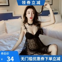 Nightdress Average size sexy camisole pajamas Short skirt summer Solid color youth V-neck Polyester (polyester) Hollowing out More than 95% Lace fabric LL12 200g and below
