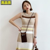 Dress Summer 2021 White, black, khaki Average size Mid length dress Two piece set Sleeveless Sweet Crew neck High waist stripe Socket A-line skirt routine camisole 18-24 years old Type A 51% (inclusive) - 70% (inclusive) knitting polyester fiber