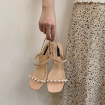 Sandals 35,36,37,38,39 Black, apricot PU The south is in the south Square head Thick heel High heel (5-8cm) Summer 2021 Flat buckle Retro Solid color Adhesive shoes Youth (18-40 years old) Composite bottom daily Thick heel, Roman style, beaded PU PU Roman shoes