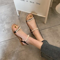 Sandals 35,36,37,38,39,40 Black, apricot PU The south is in the south Barefoot Flat bottom Flat heel (1cm or less) Summer 2021 Flat buckle solar system Solid color Adhesive shoes Youth (18-40 years old) Composite bottom daily Ankle strap Low Gang Hollow Cool boots
