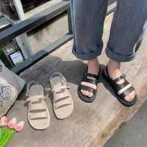 Sandals 35,36,37,38,39 Black, off white PU The south is in the south Round head Flat bottom Low heel (1-3cm) Summer 2021 Velcro solar system Solid color Adhesive shoes Youth (18-40 years old) Composite bottom daily Shallow mouth PU PU Roman shoes