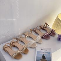 Sandals 35,36,37,38,39 Purple, off white, khaki Mesh The south is in the south Barefoot Square heel Low heel (1-3cm) Summer 2021 Flat buckle Korean version Solid color Adhesive shoes Youth (18-40 years old) Composite bottom daily Back space Hollow PU PU Flat buckle