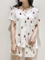 Pajamas / housewear set female you gelato pique cotton Short sleeve Simplicity Leisure home summer Thin money Small lapel Plants and flowers Pant double-breasted youth 2 pieces rubber string pure cotton More than 95% printing longuette Average size