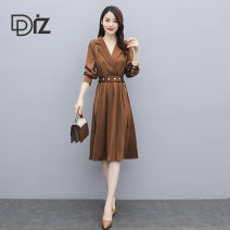 Dress Autumn 2020 Coffee black blue M L XL XXL Mid length dress singleton  Long sleeves commute V-neck High waist Solid color Socket A-line skirt routine Others 30-34 years old Diz Simplicity Lace up button TZ20B808 More than 95% other polyester fiber Other polyester 95% 5%