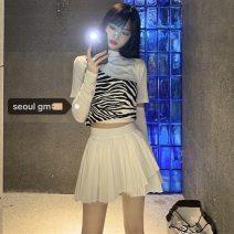Fashion suit Autumn 2020 Average size Short sleeve zebra T-shirt, striped skirt