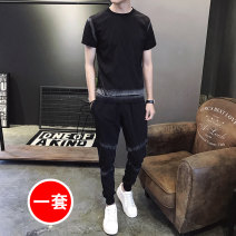 Leisure sports suit summer M , L , XL , 2XL , 3XL , 4xL , 5xL black Short sleeve Other / other youth polyester fiber 2021