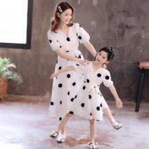 Parent child fashion Women's dress female Jin yalitong summer lady routine Dot skirt other L M S Other 100% Class B Summer 2021 3 years old, 4 years old, 5 years old, 6 years old, 7 years old, 8 years old, 9 years old, 10 years old, 11 years old, 13 years old, 14 years old