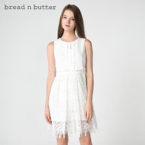 Dress Summer of 2018 Milky white P/160XS 0/165S 1/170M 2/175L Middle-skirt Fake two pieces Sleeveless Sweet Crew neck High waist zipper Princess Dress Others 25-29 years old bread n butter 8SB0BNBDRSW181012 More than 95% polyester fiber Polyester 100% Ruili
