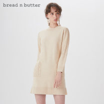 Dress Autumn of 2019 oatmeal  P/160XS 0/165S 1/170M 2/175L Middle-skirt singleton  Long sleeves Sweet Half high collar Loose waist Solid color Socket other routine 25-29 years old bread n butter 31% (inclusive) - 50% (inclusive) acrylic fibres Ruili