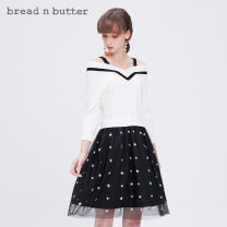 Dress Autumn of 2019 Milky white P/160XS 0/165S 1/170M 2/175L Middle-skirt Long sleeves Sweet High waist Pleated skirt 25-29 years old bread n butter 9WB0BNBDRSW176012 30% and below nylon Viscose (viscose) 75.7% polyamide (nylon) 24.3% Ruili Same model in shopping mall (sold online and offline)