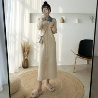 Dress Winter of 2019 Black, apricot Average size longuette singleton  Long sleeves commute Polo collar Loose waist Solid color Single breasted One pace skirt routine Others 25-29 years old Type H Other / other Korean version YL130 30% and below knitting other