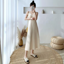 Dress Autumn 2020 Black, apricot Average size longuette singleton  Sleeveless commute V-neck High waist Solid color Socket A-line skirt routine Others 25-29 years old Type A Other / other Korean version 30% and below knitting other
