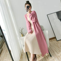 Wool knitwear Spring 2020 Average size Black, apricot, pink Long sleeves singleton  Cardigan other 30% and below Medium length routine commute easy V-neck bishop sleeve Solid color Korean version 25-29 years old Other / other