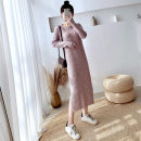 Dress Winter of 2019 Black, apricot, grey khaki Average size longuette singleton  Long sleeves commute Crew neck Loose waist Solid color Socket One pace skirt routine Others 25-29 years old Type H Other / other Korean version 30% and below knitting other