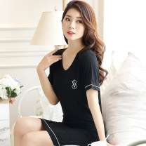 Nightdress Ouqiao S M L XL Sweet Short sleeve pajamas Short skirt summer Solid color youth V-neck 81% (inclusive) - 95% (inclusive) Modal fabric 200g and below Summer 2016 Modal fiber (modal) 95% polyurethane elastic fiber (spandex) 5% Pure e-commerce (online only)
