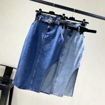 skirt Winter 2020 S,M,L,XL Dark blue, light blue Mid length dress commute High waist A-line skirt Solid color Type A 18-24 years old More than 95% Denim cotton pocket Korean version 161g / m ^ 2 (including) - 180g / m ^ 2 (including)