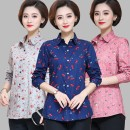 Middle aged and old women's wear Autumn of 2019 Color 1, color 2, color 3, color 4, color 6, color 7, color 8 L,XL,2XL,3XL,4XL fashion shirt easy singleton  Decor 50-59 years old Cardigan thin square neck routine routine cotton 96% and above Single breasted Long sleeves