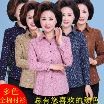 Middle aged and old women's wear Autumn of 2018 fashion shirt easy singleton  Broken flowers 50-59 years old Cardigan thin square neck routine routine pocket cotton 96% and above Single breasted Long sleeves