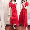 Dress / evening wear Wedding, adulthood, party, company annual meeting, performance, routine, appointment M,L,XXL,XL,XXXL,4XL Red, black, white, red (quarter sleeve), black (quarter sleeve) Korean version longuette High waist Summer 2021 Self cultivation Deep collar V Lace Short sleeve routine