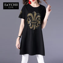 T-shirt black L XL M XXL XXXL Spring 2021 Short sleeve Crew neck easy Medium length routine street other 96% and above 30-34 years old originality Splicing E&YCHII EY18B057 Other 100% Pure e-commerce (online only) Europe and America