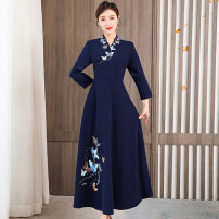 Dress Spring 2021 Light purple, Navy S,M,L,XL,4XL,XXL,XXXL longuette singleton  Long sleeves commute V-neck middle-waisted Solid color Socket A-line skirt routine Others 35-39 years old Type A Korean version Embroidery 81% (inclusive) - 90% (inclusive) brocade Cellulose acetate