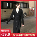 Women's large Autumn 2020 Black Brown S M L XL 2XL 3XL 4XL Dress singleton  Sweet easy moderate Socket Long sleeves Solid color V-neck routine F9-29WHBK7714-B Yifengweier 18-24 years old Medium length Polyester 42% viscose 40% polyamide 18% Pure e-commerce (online only) solar system