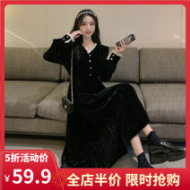 Women's large Autumn 2020 Long payment and short payment S M L XL 2XL 3XL 4XL Dress singleton  commute easy moderate Socket Long sleeves Solid color Korean version V-neck routine A10-23HYF9010-C Yifengweier 18-24 years old Medium length Polyester 100% Pure e-commerce (online only)