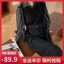 Women's large Spring 2021 Black JH S M L XL 2XL 3XL 4XL Dress Fake two pieces commute easy moderate Socket Long sleeves lattice Korean version square neck routine 1-21CS0005-XX Yifengweier 18-24 years old Medium length Cotton 65% polyester 35% Pure e-commerce (online only)
