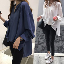 Women's large Spring 2020 shirt singleton  Sweet easy moderate Socket Long sleeves Solid color V-neck Three dimensional cutting Flying sleeve Yifengweier 18-24 years old Button Other polyester 95% 5% Pure e-commerce (online only) Pleated skirt Mori