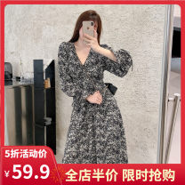Women's large Summer 2021 Picture color JH S M L XL 2XL 3XL 4XL Dress singleton  commute easy moderate Socket Long sleeves Broken flowers Korean version V-neck routine three - 15CS0122 - KAY Yifengweier 18-24 years old Medium length Polyester 100% Pure e-commerce (online only) other