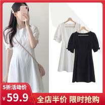 Women's large Summer 2021 Black and white S M L XL 2XL 3XL 4XL Dress singleton  Sweet easy moderate Socket Short sleeve Solid color other routine 3-18CS0250 Yifengweier 18-24 years old Short skirt Cotton 100% Pure e-commerce (online only) solar system