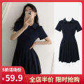 Women's large Summer 2021 Navy Black S M L XL 2XL 3XL 4XL Dress singleton  Sweet easy moderate Socket Short sleeve Solid color square neck routine 3-23CS0261 Yifengweier 18-24 years old Short skirt Cotton 100% Pure e-commerce (online only) solar system