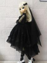 BJD doll zone Dress 1/4 Over 3 years old goods in stock Black skirt + headdress + Necklace 1 / 4BJD size