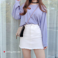 skirt Summer 2018 Miniskirt fresh A-line skirt High waist Solid color 91% (inclusive) - 95% (inclusive) cotton Type A Denim XXS, XS, only suitable for 140-145 height white