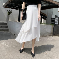 skirt Spring 2021 S,M,L White [willow Zou], black [willow Zou] Mid length dress commute High waist Irregular Solid color Type A 25-29 years old Chiffon Korean version