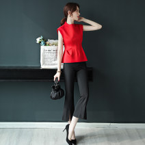 T-shirt Black - Pants - 00060 red top S M L XL Summer of 2019 Sleeveless stand collar Self cultivation Regular other commute polyester fiber 96% and above 25-29 years old Korean version Melina Polyester 100% Pure e-commerce (online only)