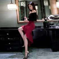 Dress / evening wear Weddings, adulthood parties, company annual meetings, daily appointments S M L XL claret Korean version longuette middle-waisted Winter of 2019 One shoulder 26-35 years old D88311 Solid color Melina routine Polyester 100% Pure e-commerce (online only)