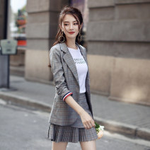 suit Spring of 2018 S M L XL XXL Long sleeves Medium length Self cultivation tailored collar Single breasted commute raglan sleeve lattice 25-29 years old 96% and above polyester fiber Melina Button Polyester 97% polyurethane elastic fiber (spandex) 3% Pure e-commerce (online only)