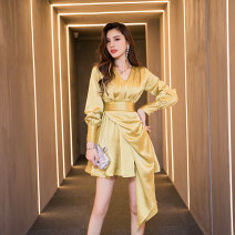 Dress / evening wear Weddings, adulthood parties, company annual meetings, daily appointments S M L XL yellow Korean version Short skirt High waist Winter 2020 Skirt hem Deep collar V 26-35 years old B59013 Melina shirt sleeve Polyester 100% Pure e-commerce (online only)