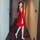 Dress Summer 2020 Red and black S M L XL Short skirt singleton  Long sleeves commute V-neck High waist Solid color Socket A-line skirt straps 25-29 years old Melina Korean version A2426 More than 95% polyester fiber Polyester 100% Pure e-commerce (online only)