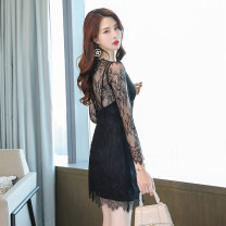 Dress Autumn 2020 black S M L XL XXL Short skirt singleton  Long sleeves commute V-neck High waist Solid color A-line skirt other Others 25-29 years old Melina Korean version Hollow lace More than 95% polyester fiber Polyester 100% Pure e-commerce (online only)