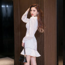 Dress Winter 2020 white S M L XL Middle-skirt singleton  Long sleeves commute V-neck High waist Solid color Socket A-line skirt Others 30-34 years old Type A Melina Lotus leaf edge A2686 More than 95% polyester fiber Polyester 100% Pure e-commerce (online only)