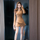 Dress Winter 2020 Brown Black S M L XL Mid length dress singleton  Long sleeves commute V-neck High waist Solid color Single breasted routine Others 30-34 years old Melina A2664 More than 95% polyester fiber Polyester 100% Pure e-commerce (online only)