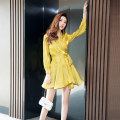 Dress Summer 2021 The lake is blue and yellow S M L XL Short skirt singleton  Long sleeves commute V-neck High waist Solid color Socket A-line skirt routine Others 30-34 years old Type A Melina Korean version Button M2568 More than 95% Chiffon polyester fiber Polyester 100%